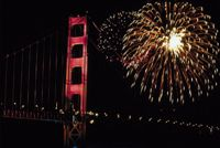 July Fourth fireworks above the Golden Gate Bridge in San Francisco, celebrating America's blessings from sea to shining sea.
