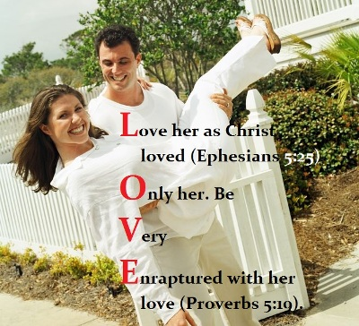 LOVE acrostic on photo of a husband carrying his wife.