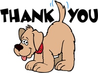 Thank you card graphic with a cute dog wagging its tail.